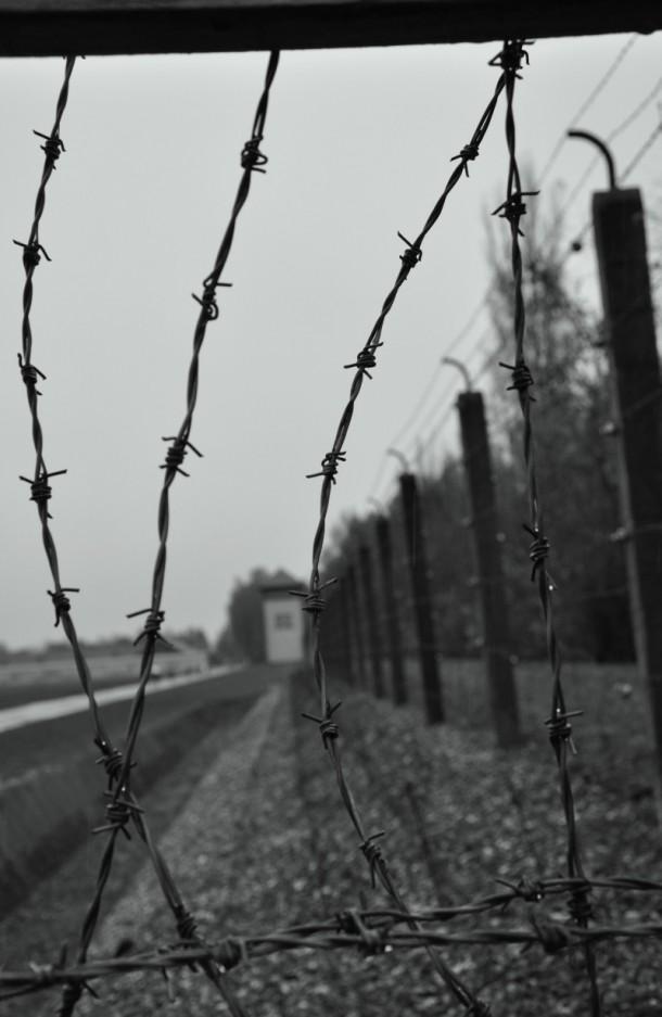 Il filo spinato che circonda Dachau