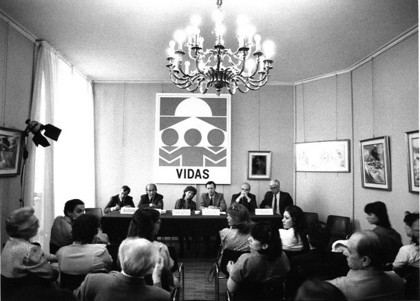 La conferenza stampa di presentazione di VIDAS: al centro Cavazzoni e Usellini